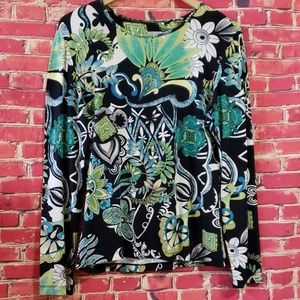Chicos knit Black Floral Women's blouse size 1